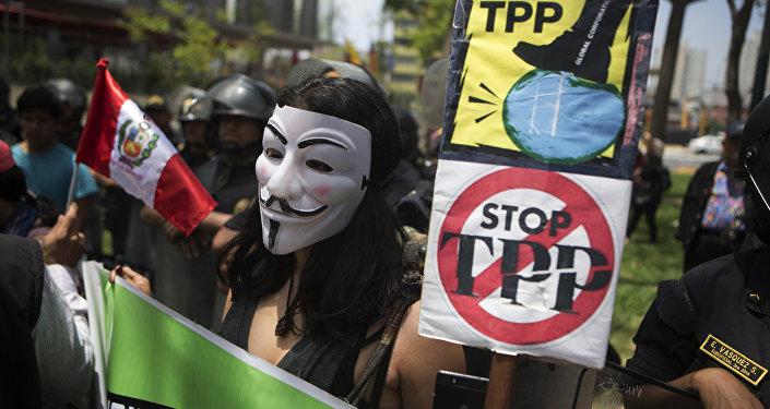 Una protesta contra TPP en Perú