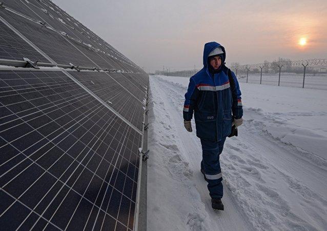 Una central solar en Siberia