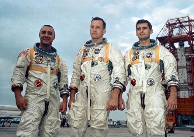 Gus Grissom, Ed White II and Roger Chaffee, participantes de la misión espacial frustrada Apolo 1