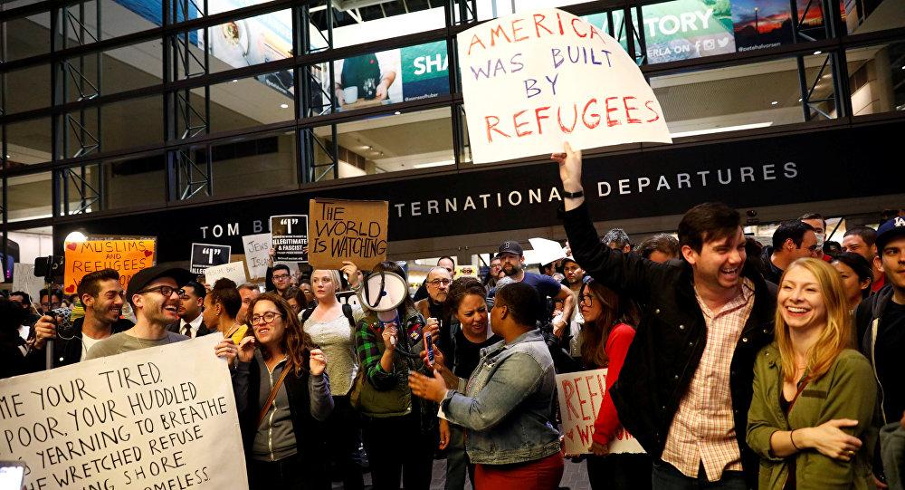 Manifestación contra el veto de Donald Trump