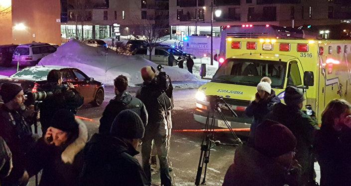 El lugar del atentado en Quebec