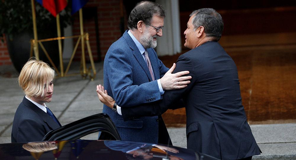 Presidente de Ecuador, Rafael Correa, y el primer ministro de España, Mariano Rajoy