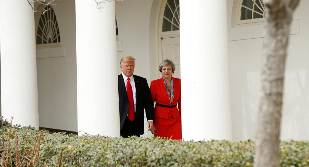 Presidente de EEUU, Donald Trump, y primera ministra del Reino Unido, Theresa May