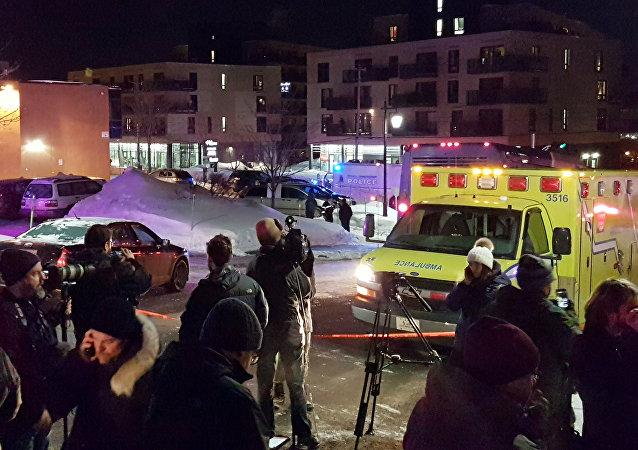 Lugar del tiroteo en Quebec
