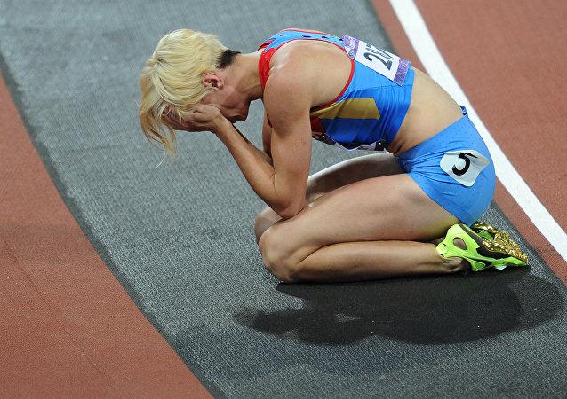 Atleta rusa Antonina Krivoshapka en los Juegos Olímpicos de Londres 2012