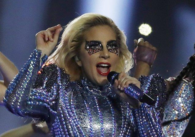 Lady Gaga durante el show en Super Bowl