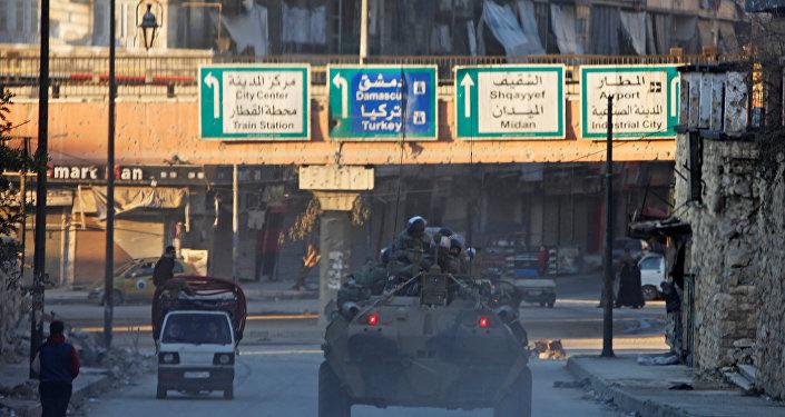 Soldados rusos en Alepo, Siria