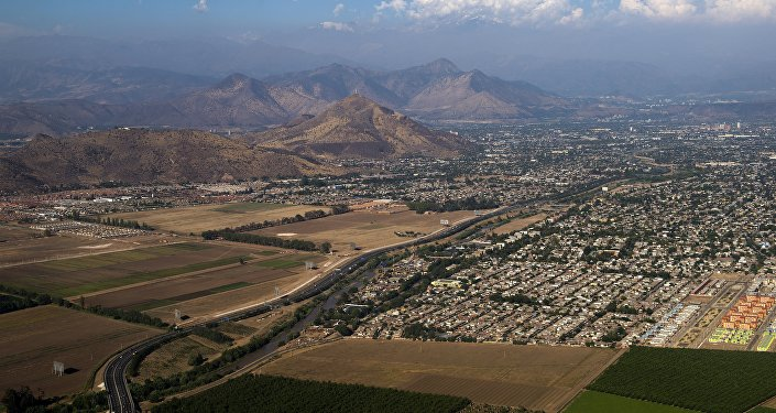 La ciudad de Santiago de Chile, vista desde un avión