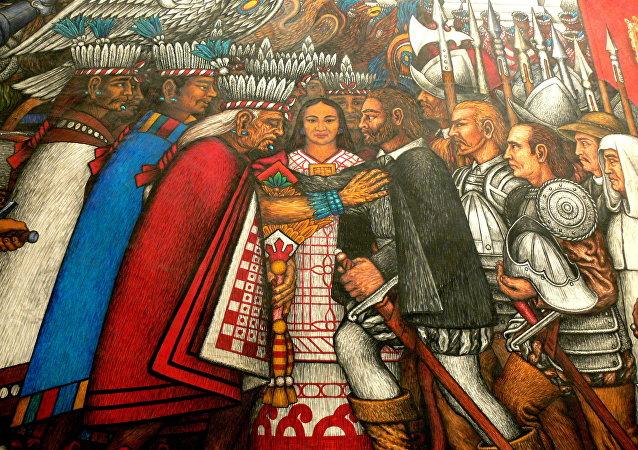 El fresco de Hernández Xochitiotzin 'Discusiones entre Taxcaltecanos y Hernán Cortés'