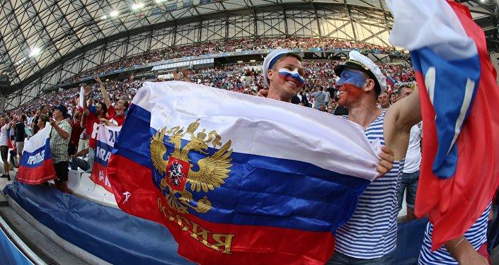 Aficionados rusos durante la Eurocopa 2016