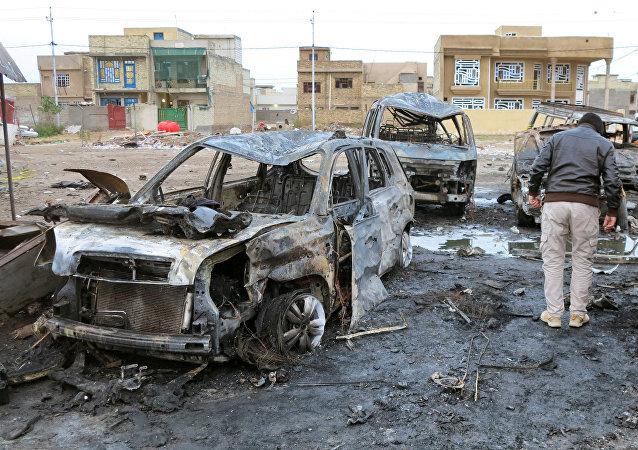 Lugar de la explosión en Bagdad