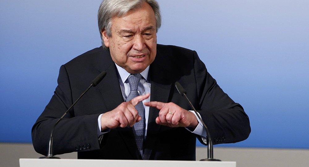 El secretario general de la ONU, António Guterres, pronuncia su discurso en la conferencia de Múnich
