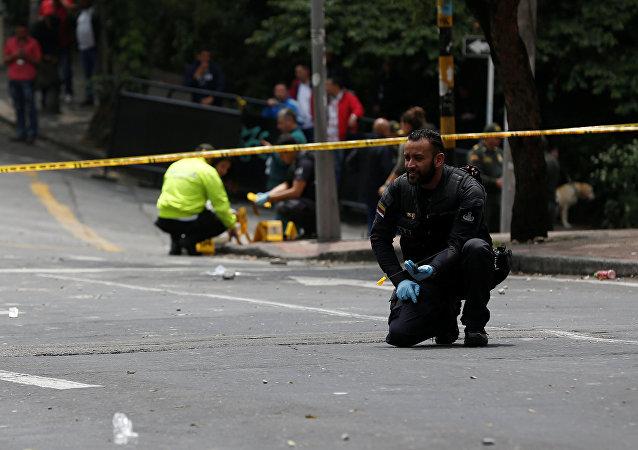 Lugar del atentado en Bogotá
