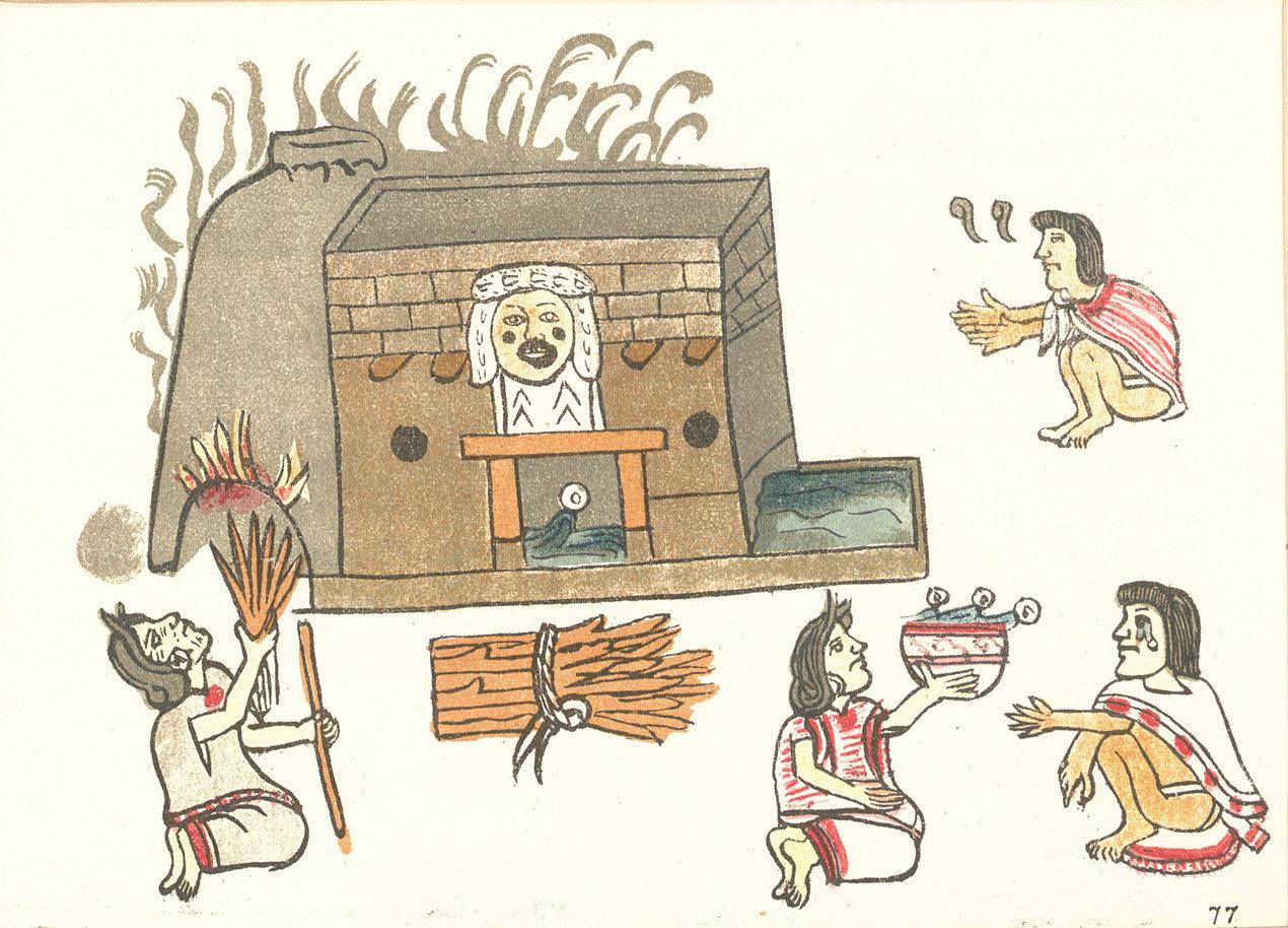 Pictografía de un temazcal azteca en el Códice Magliabechiano, siglo XVI.