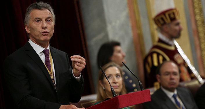 Mauricio Macri, presidente de Argentina, en el Senado de España
