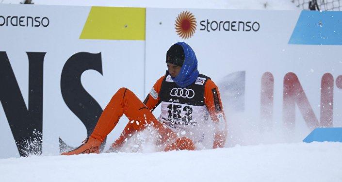 Adrian Solano, durante el Campeonato Mundial de Esquí Lahti 2017, en Suecia