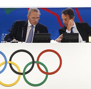 Jacques Rogge y Christophe De Kepper durante la 125 sesión del COI en Buenos Aires, Argentina, 9 de septiembre de 2013