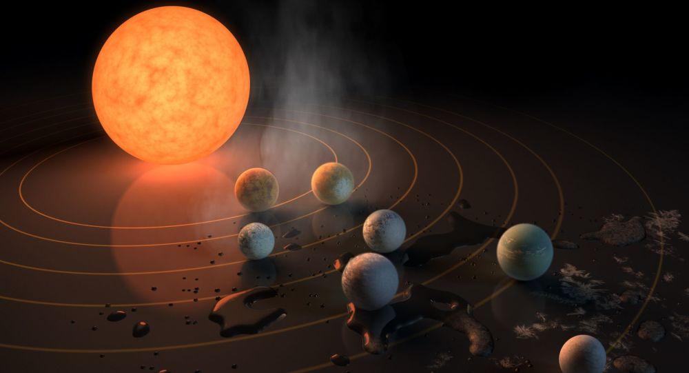 Художественное представление семи планет системы TRAPPIST-1