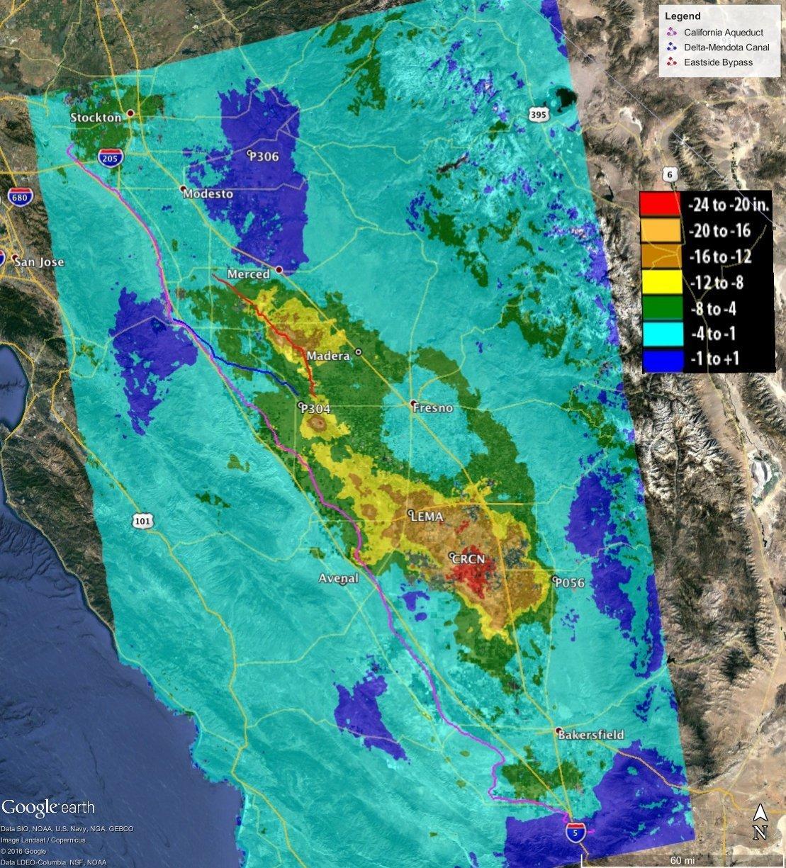 Hundimiento total en el valle de San Joaquín en California