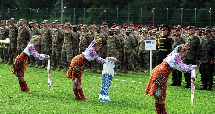 Ceremonia de bienvenida para soldados estadounidenses en Ucrania