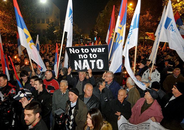 Protestas contra la adhesión de Montenegro a la OTAN en Podgorica, 12 de diciembre de 2015.
