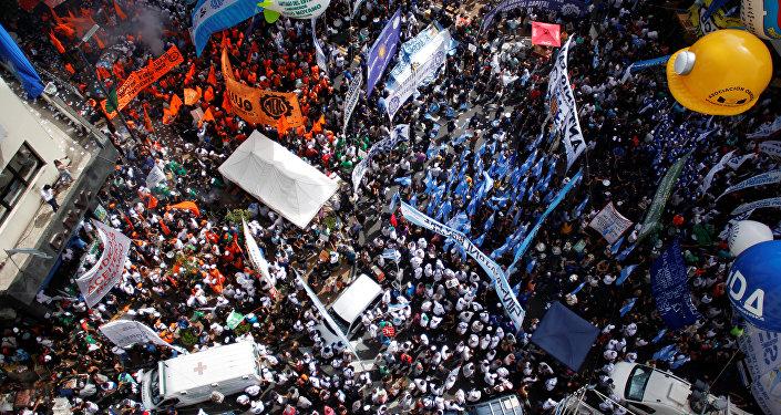 Marcha de la Confederación General del Trabajo (CGT) en Buenos Aires (archivo)