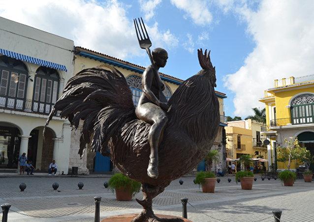 Monumento en la plaza Vieja, La Habana, Cuba.