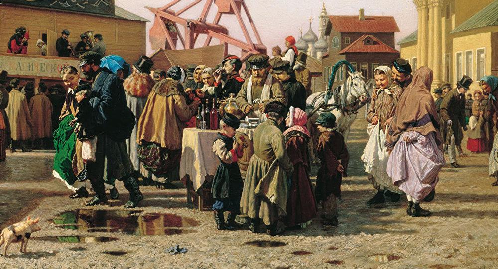 Semana Santa en Tula, cuadro del pintor Alexandr Popov, 1873