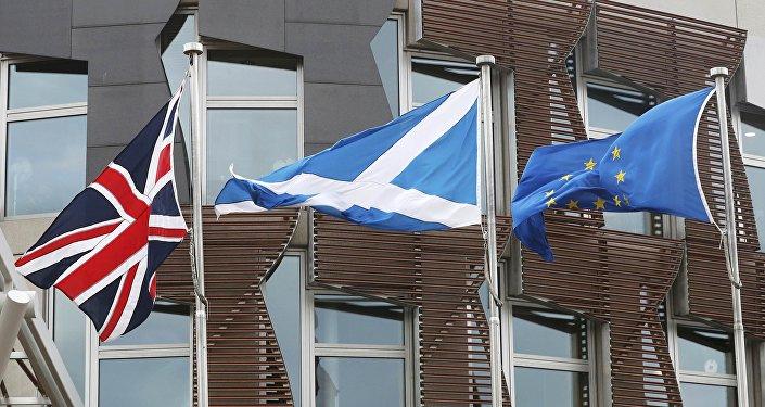 Banderas de Reino Unido, Escocia y UE
