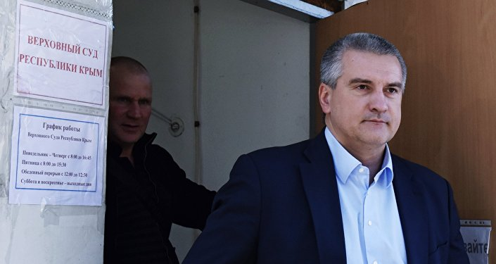 Serguéi Aksiónov en el tribunal de Crimea