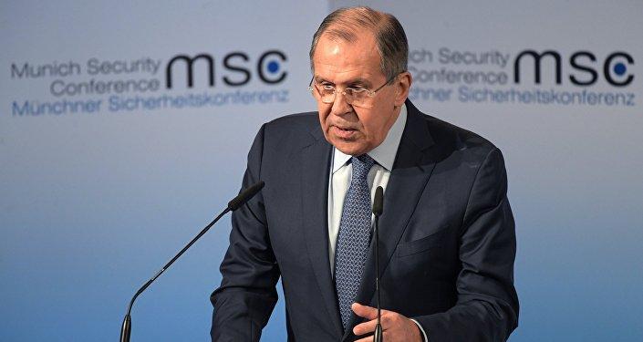 Ministro ruso de Asuntos Exteriores,  Serguéi Lavrov, en la conferencia de Múnich