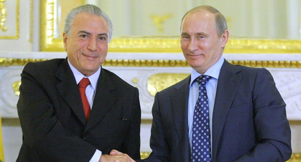 Presidente de Brasil, Michel Temer, y presidente de Rusia, Vladímir Putin (Archivo)
