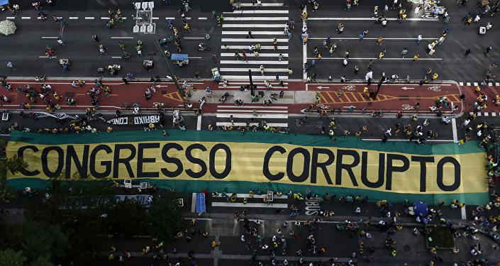 Una protesta contra la corrupción en Brasil.