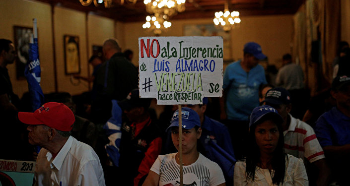 El partidario del gobierno venezolano con un cartel contra Luis Almagro en Caracas, Venezuela