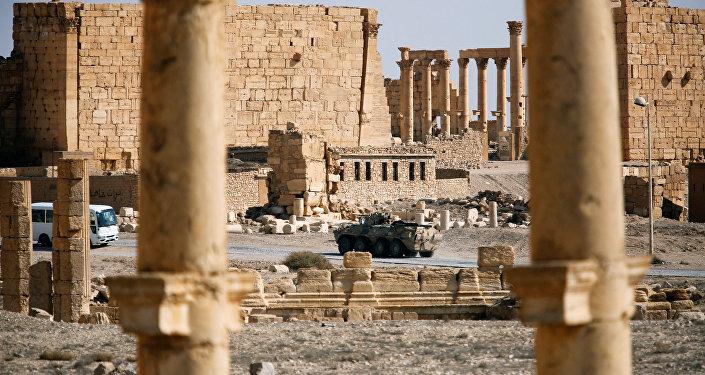 Un blindado ruso en Palmira (archivo)