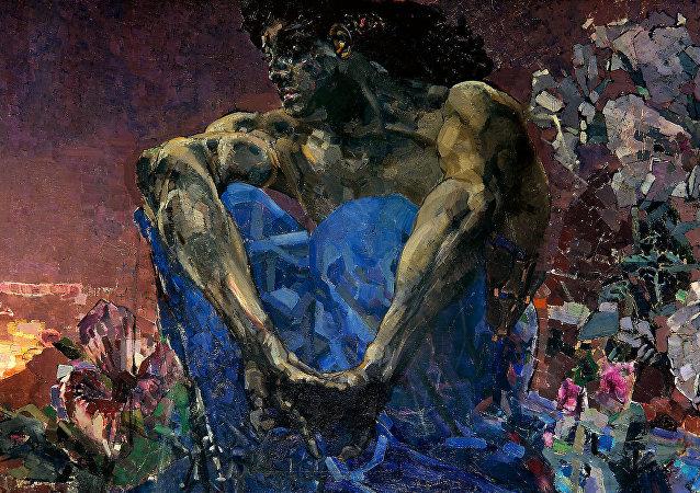 Demonio sentado en el jardín, Mijaíl Vrúbel