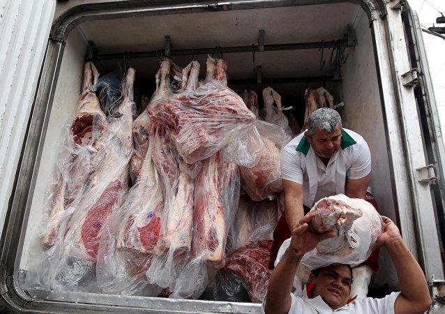 Camión con carne en Sao Paulo, Brasil