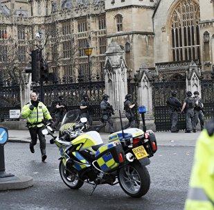 Policías en Londres tras el tiroteo en el puente de Westminster