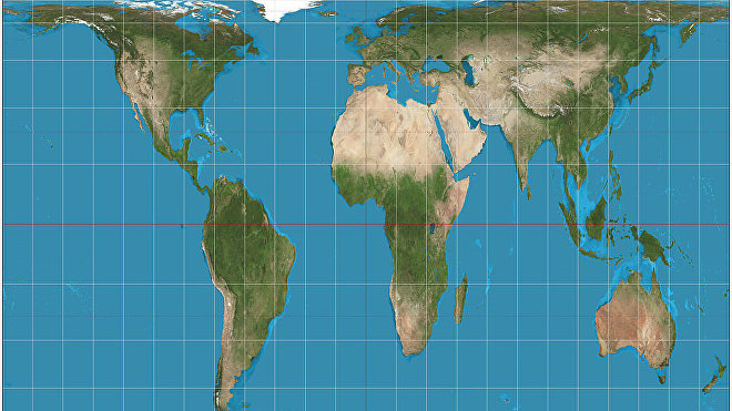 Proyección cartográfica del planeta Tierra ideada por James Gall en 1856.