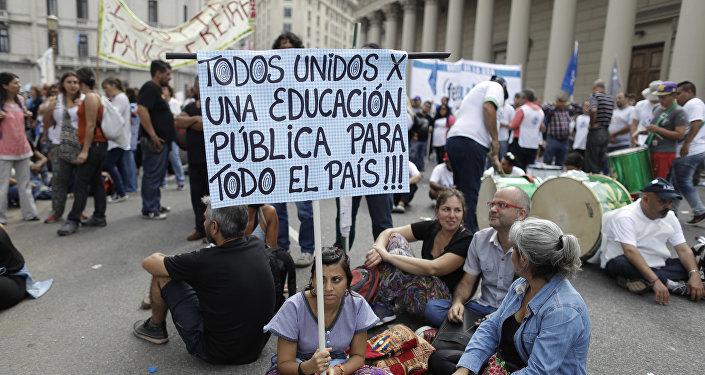 Protesta de maestros en Buenos Aires