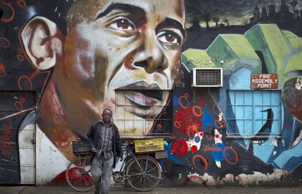 Grafiti que representa al expresidente estadounidense Barack Obama en Nairobi