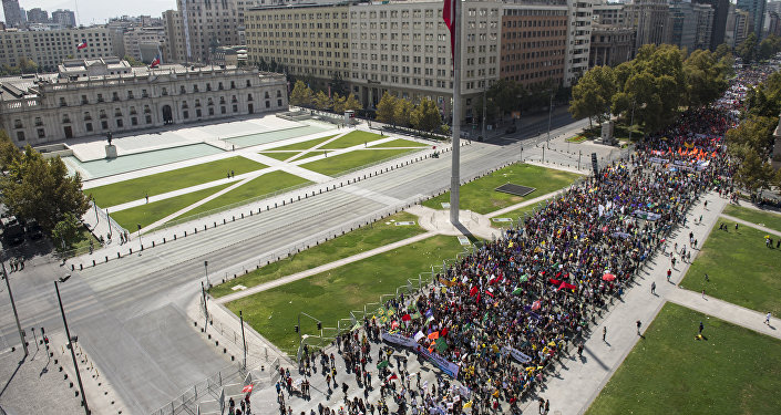 Manifestaciones de protesta contra el sistema de pensiones privado en Santiago, Chile