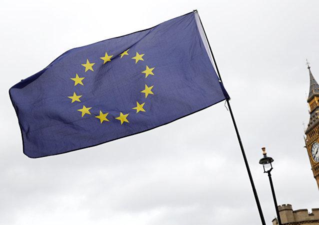 Una bandera de la Unión Europea en Londres