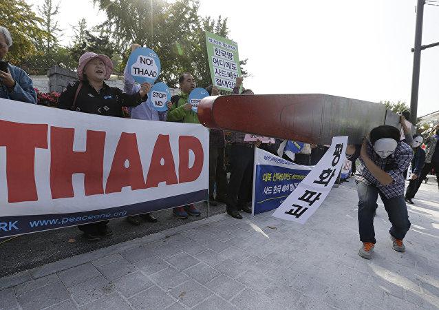 Protestas contra el despliegue de THAAD en Corea del Sur (archivo)