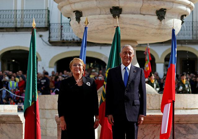 Michelle Bachelet, presidente de Chile, y Marcelo Rebelo, presidente de Portugal