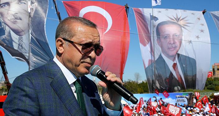 Recep Tayyip Erdogan, presidente turco, en una manifestación en Ankara