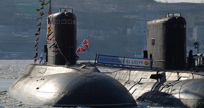 Los submarinos de Flota de Pacífico de Rusia