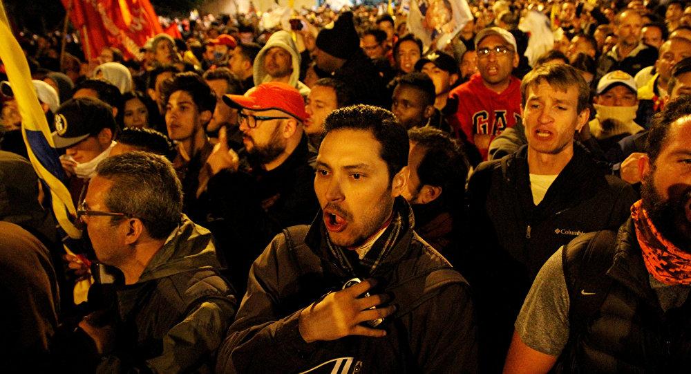 La manifestación de protesta de los partidarios del candidato presidencial Guillermo Lasso tras las elecciones en Ecuador