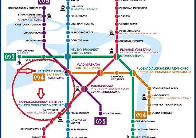 Lugar de la explosión en el metro de San Petersburgo