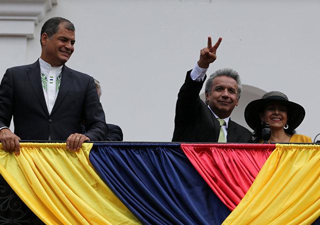Rafael Correa, presidente de Ecuador con Lenin Moreno, ganador de las presidenciales